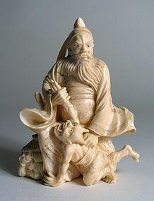 Fine Japanese Ivory Okimono of Shoki & Oni, Meiji